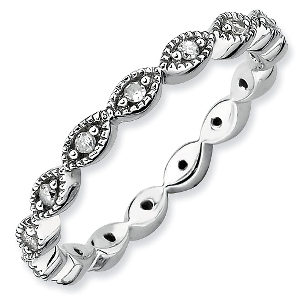 2.5mm Sterling Silver Stackable Expressions Polished Diamond Eternity Ring - Size 9