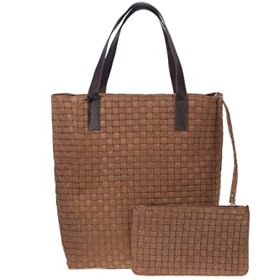 89f55d08c4 Amazon.com  CAROL J. Italian Made Brown Woven Embossed Leather Tote with  Pouch  Shoes