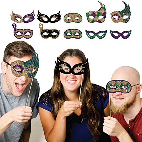 Mardi Gras Masks - Masquerade Party Photo Booth Props Kit - 10 (Mardi Gras Masks On A Stick)