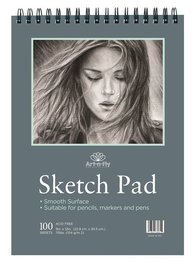 100 Sheets 9 x 12 Inch Smooth Sketchpad for Drawing Pencils Pens Markers Sketching Coloring Sketch Pad Spiral Bound Sketchbook by Art-n-Fly