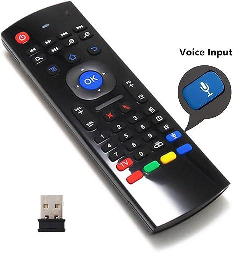 LONGYAO Air Mouse 2.4G Mini Teclado Inalámbrico Infrarrojo IR Leaning Mando a Distancia para Android TV Box, IPTV, HTPC, Mini PC, Smart TV Mando a Distancia con Entrada de Voz: Amazon.es: Electrónica