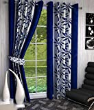 GeoNature Polyester Window Blue Kolaveri Curtains set of 2 Size (4x5Feet) G2CR5F-114