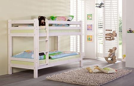 Etagenbett Doppelt : Lifestyle4living etagenbett in kiefer massiv weiß teilbar 2