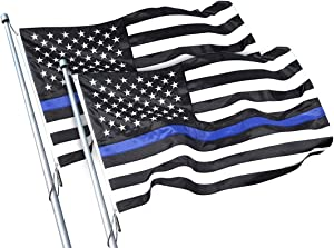 Thin Blue Line Flag-2 Pack, 3x5 ft with Brass Grommets, Black White and Blue American Police Flag