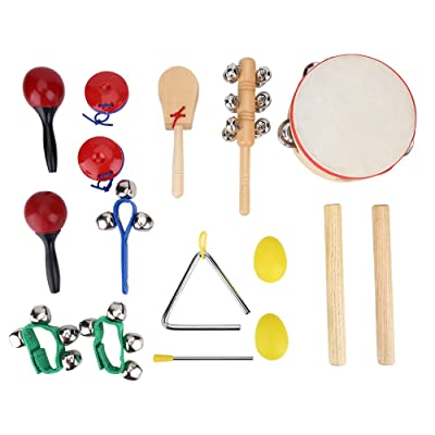 VGEBY1 Musical Toys, 16 Pcs Kids Musical Instruments Educational Toys Musical Set with Wooden Handle Mental Bells: Sports & Outdoors
