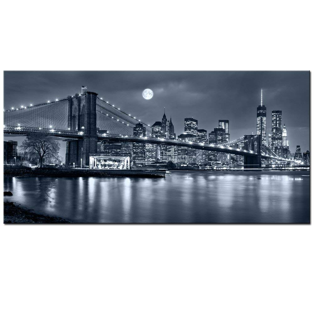"""LevvArts - Large Size Brooklyn Bridge Canvas Wall Art,Moon Night New York City Scene Picture Print on Canvas,Framed Gallery Wrapped,Modern Home and Office Decoration,-24""""x48"""""""