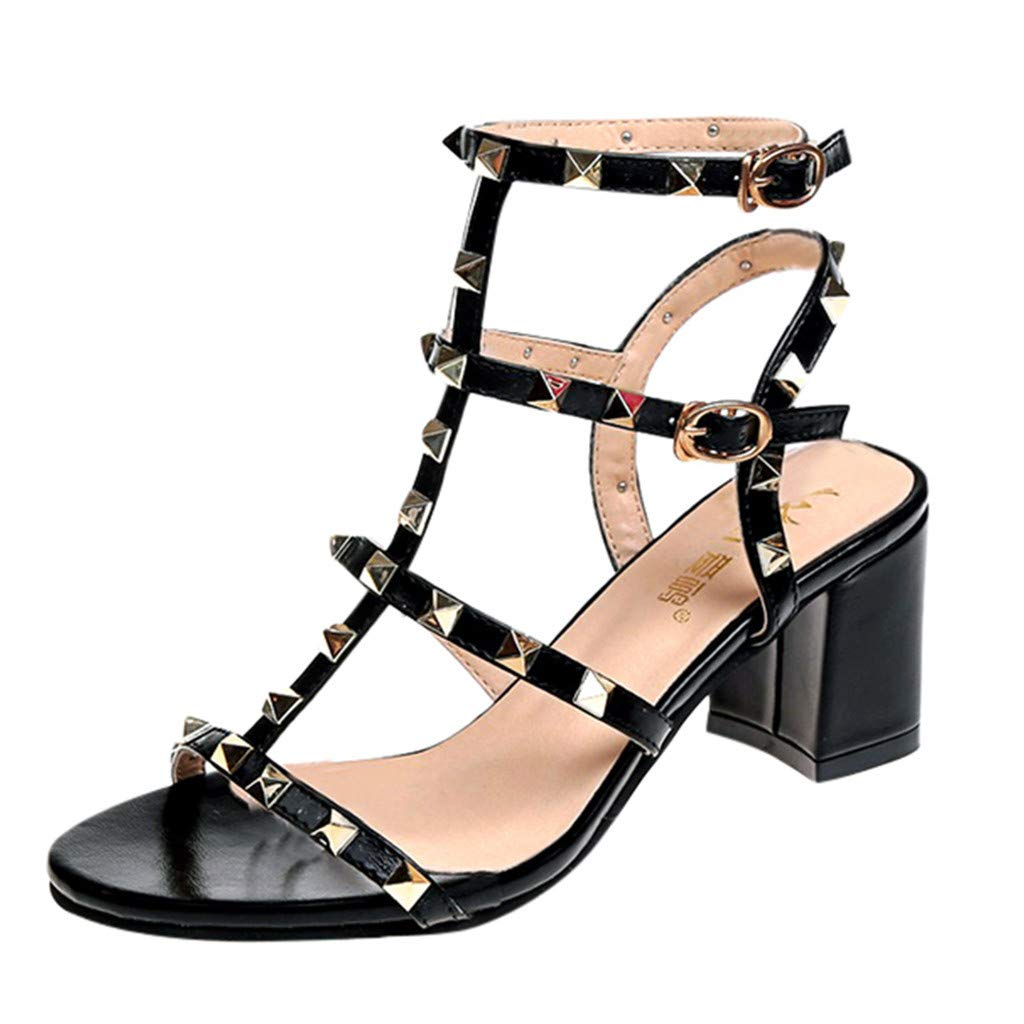 COOlCCI_2019 NEW ARRIVAL Women's Chunky Heeled Sandals,Buckle Strap Rivet High Heel Party Shoes Black