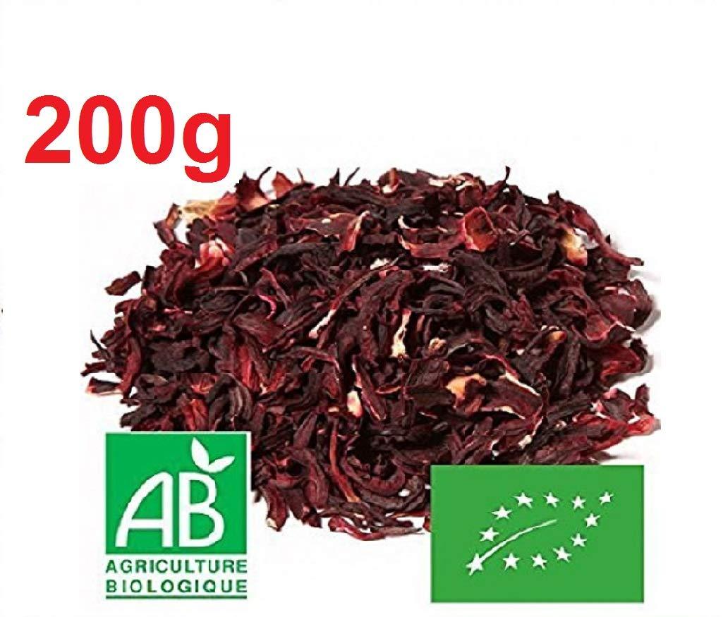 Flores Secas Orgánicas de Hibisco, Sin Cortar | Bissap Karkade Bio - Origen Senegal - 100g o 200g o 300g - (200g): Amazon.es: Alimentación y bebidas