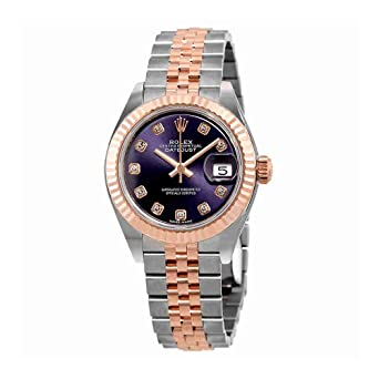 75acda5b0a4 Amazon.com: Rolex Lady-Datejust Aubergine Diamond Dial Automatic ...