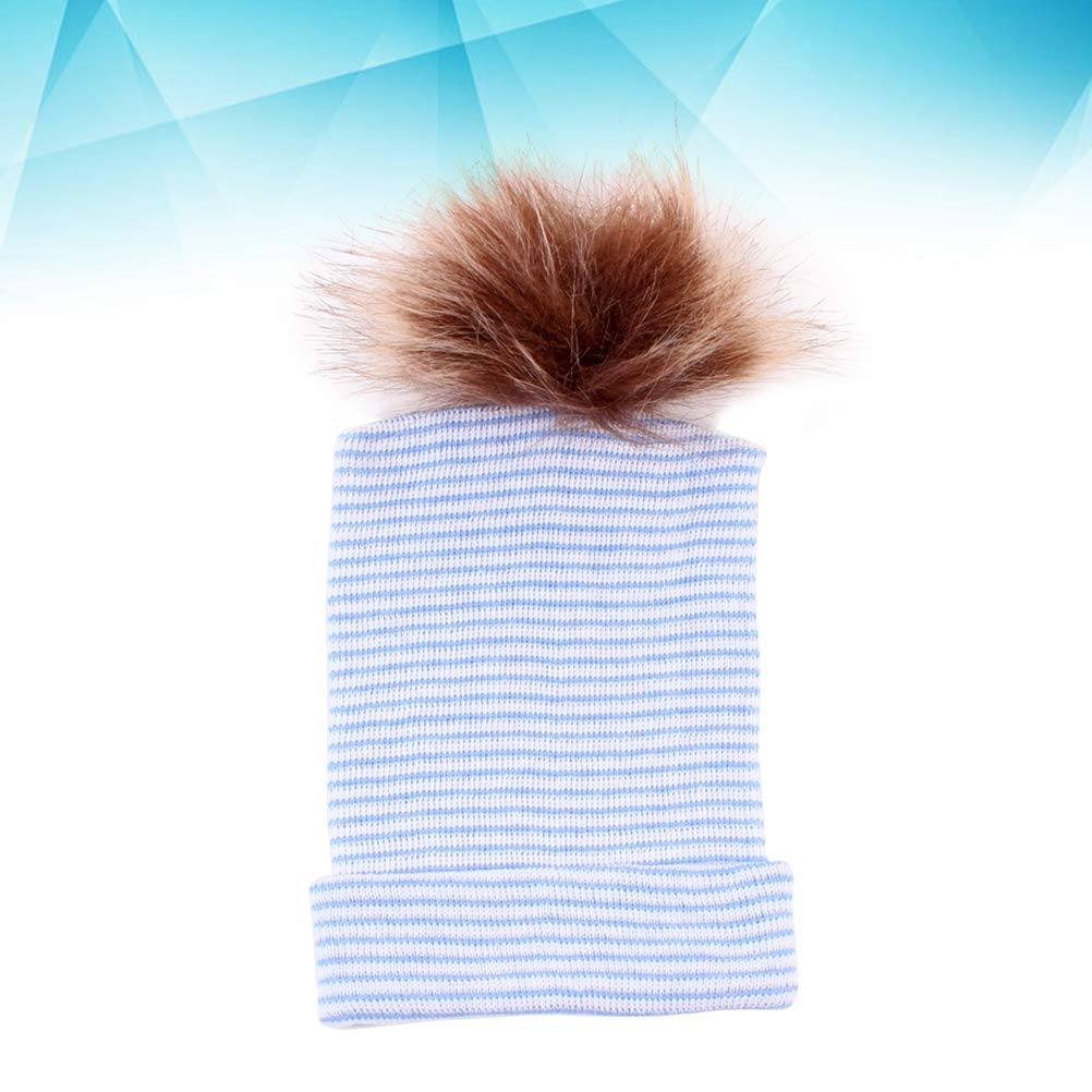 Newborn Baby Infant Toddler Hairball Hat Knitted Beanie Warm Cotton Soft Hat Cap Blue