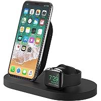 Belkin Boost Up - Base de carga inalámbrica para iPhone + Apple Watch + puerto USB-A (estación dock para iPhone/cargador inalámbrico para iPhone XS, XS Max, XR, X, 8/8 Plus, Apple Watch 4, 3, 2 y 1)