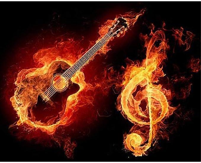 TWYYDP Puzzle 1000 Piezas Niños Adulto Guitarra Flamígera Y Notas ...