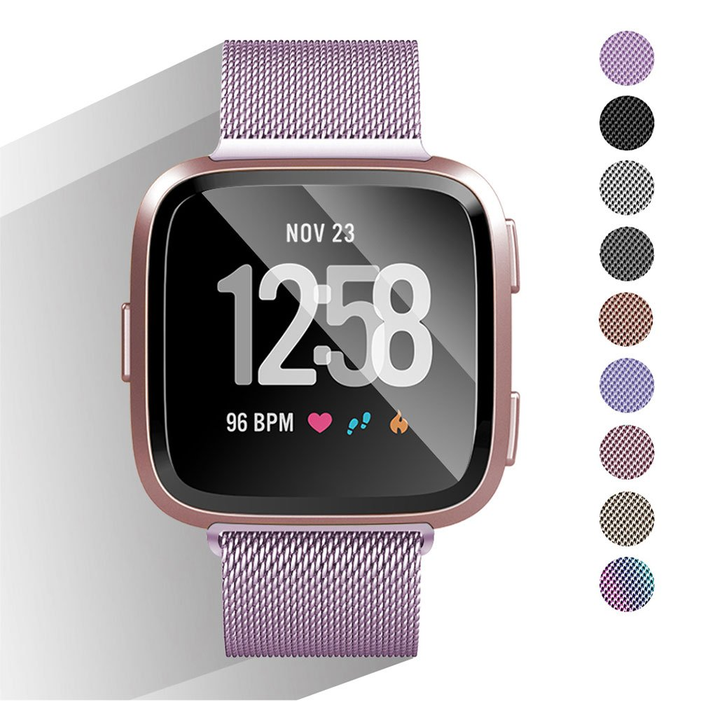 DEKER Metal Bands Compatible with Fitbit Versa Bands Women Men Small Large, Stainless Steel Milanese Sport Bracelet Replacement Strap Wristbands (05#Light Purple, Small:5.5''-7.9'')