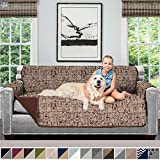 Sofa Shield Original Patent Pending Reversible Sofa Slipcover, Dogs, 2' Strap/Hook, Seat Width Up to 70' Furniture Protector, Couch Slip Cover Throw for Pets, Kids, Cats (Sofa: Dog/Chocolate)