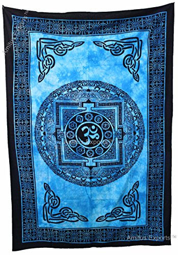 Amitus Exports (TM) 1 X Tie Dye Om Peace Approx. Inches Blue Color Cotton Fabric Multi-Purpose Handmade Tapestry Hippy Indian Mandala Throws Bohemian …
