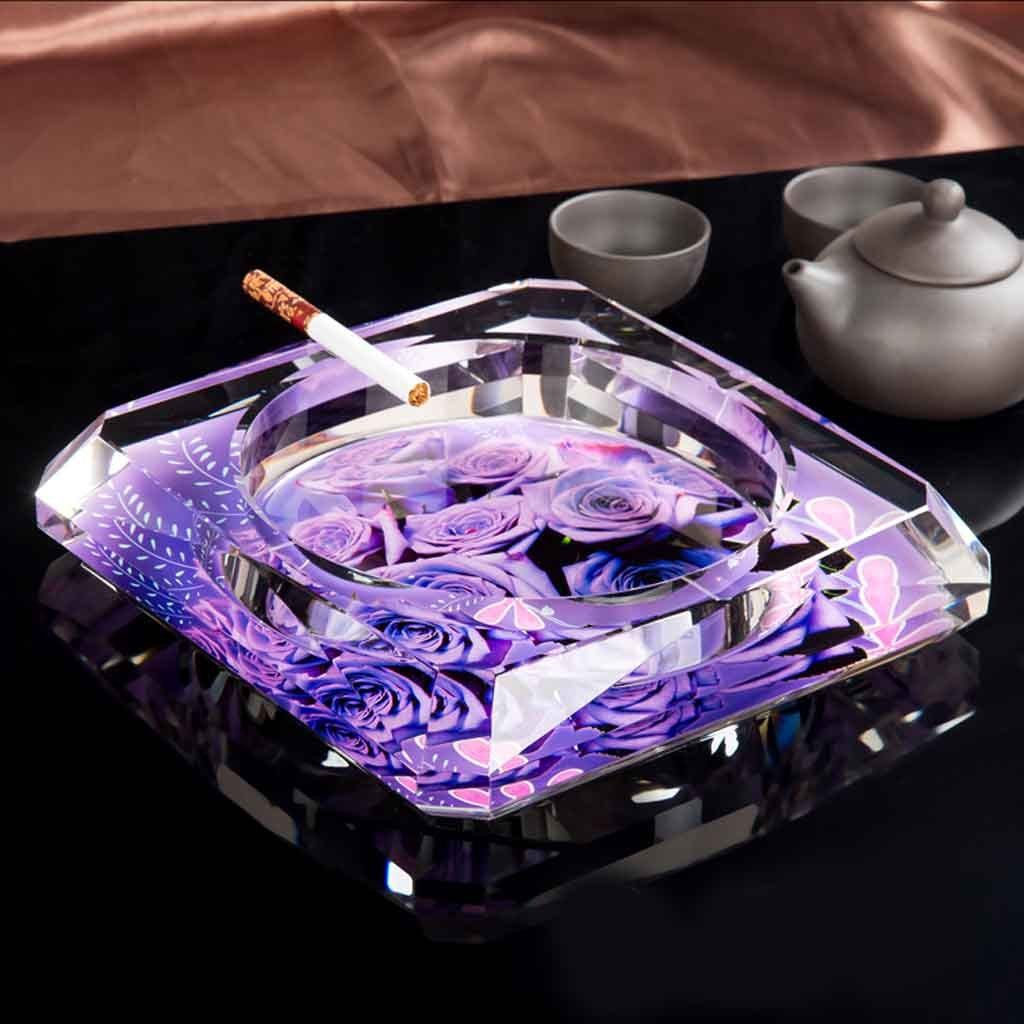 Home Windproof Ashtray Crystal Glass Cigar Living Room Office Indoor And Outdoor Ashtray (Purple) ( Size : 25CM )