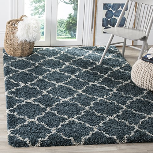 Safavieh Hudson Shag Collection SGH282L Slate Blue and Ivory Moroccan Geometric Quatrefoil Area Rug (4' x 6') ()