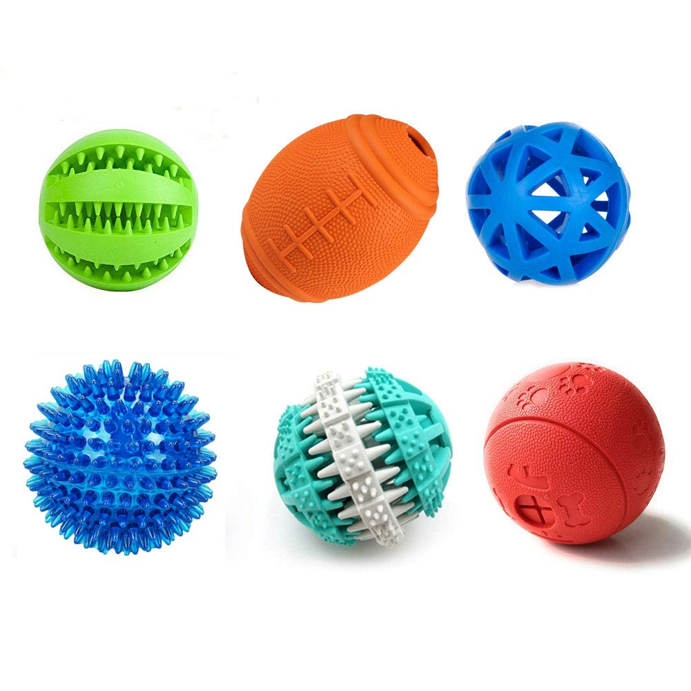 PetFavorites Treat Dispensing Dog Toy IQ Balls - Interactive Chew Toys and Smart Food Puzzle for Boredom, Dental Teething, Slow Down Feeding, 6 Pack. by PetFavorites