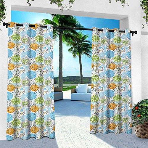 Floral, Outdoor- Free Standing Outdoor Privacy Curtain,Colorful Sketch Style Roses with Hearts and Leaves Botanic Theme, W120 x L108 Inch, Lime Green Sky Blue Marigold