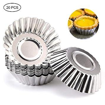 Leegoal Moldes para Tarta de Huevos, 20 moldes de Aluminio para Cupcakes, Molde para