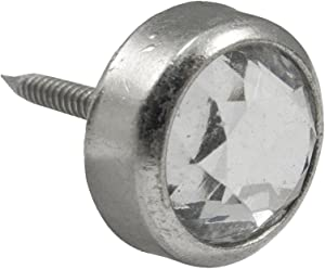 Large Nickel Round Crystal Upholstery Tack 25 Pack