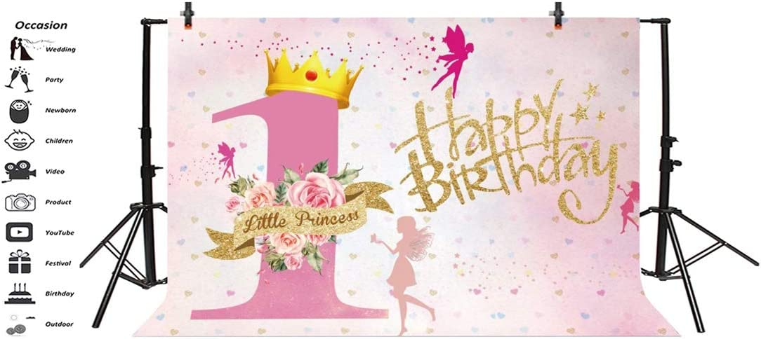 YEELE 15x10ft Sweet 16th Birthday Backdrop Pink Princess Sixteen Years Old Celebration Photography Background Daughter Girls Portrait Birthday Party Table Photo Booth Digital Banner
