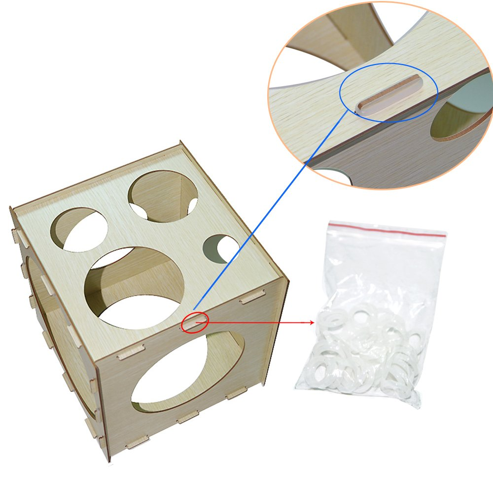 9 Holes Collapsible Wood Cube Balloon Sizer Box From 2'' - 10'' by Jioong (Image #3)