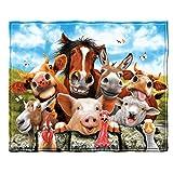 Farm Animals Selfie Fleece Throw Blanket