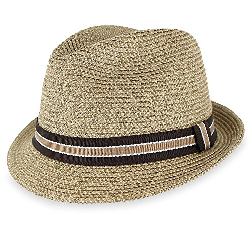 Men Women Straw Trilby Summer Fedora Hat in Blue, Tan, Black (XLarge, (Paper Braid Fedora Hat)