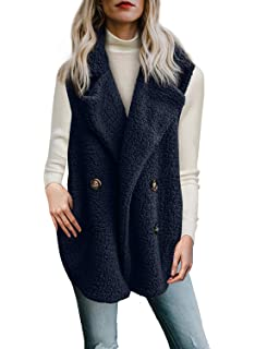 Aleumdr Mujer Abrigo de Lana Cárdigans de Invierno Chaqueta con Bolsillo para Mujer Size S-