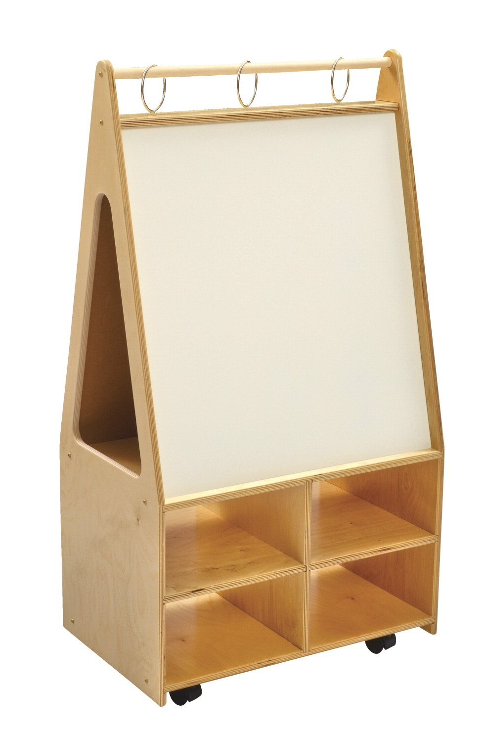 Childcraft 298694 Mobile Magnetic Dry-Erase Easel, Double-Sided, 24-3/4'' x 16'' x 46'', Natural Wood Tone/White