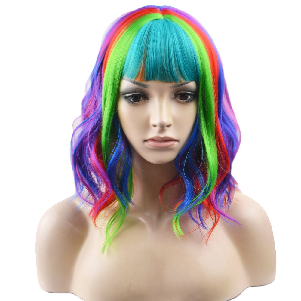 BERON 14'' Short Curly Women Girl's Charming Synthetic Wig with Air Bangs Wig Cap Included (Rainbow)