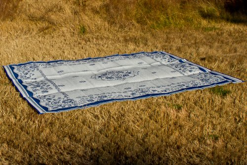 Camco Large Reversible Outdoor Patio Mat - Mold and Mildew Resistant, Easy to Clean, Perfect for Picnics, Cookouts, Camping, and The Beach (9' x 12', Blue Oriental Design) (42851)