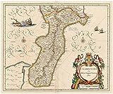 Historic Map   1640-1643 Calabria ultra olim altera magnae Graeciae pars   Antique Vintage Reproduction