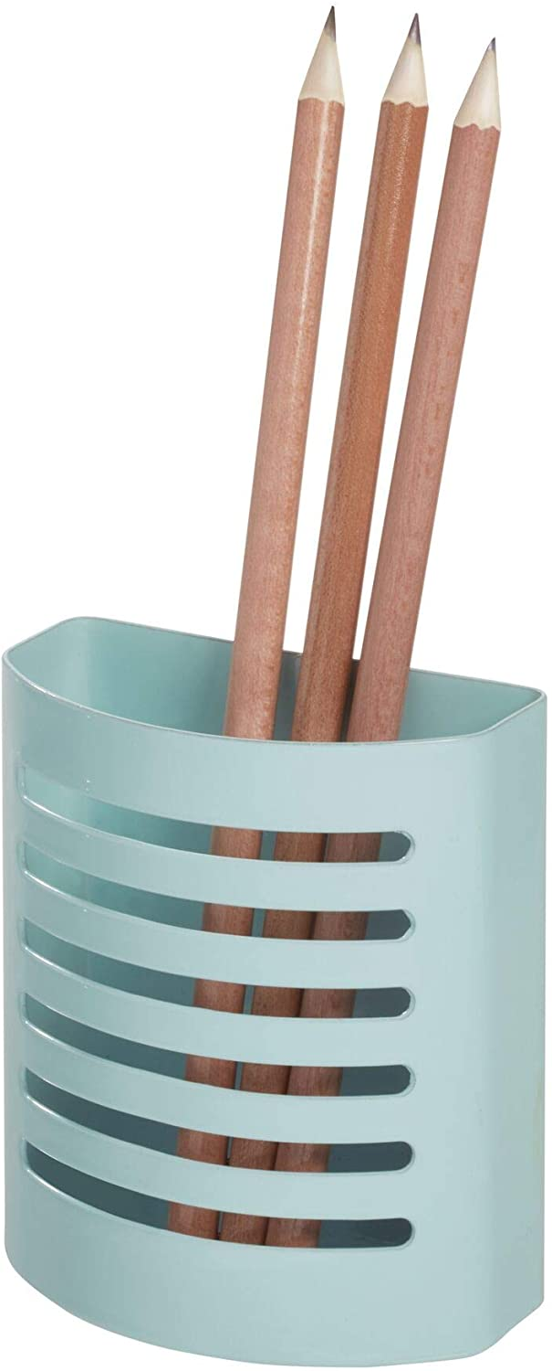 iDesign 85176 Magnetic Modern Pen and Pencil Holder, Writing Utensil Storage Organizer for Kitchen, Locker, Home, or Office, Set of 1, Mint Blue