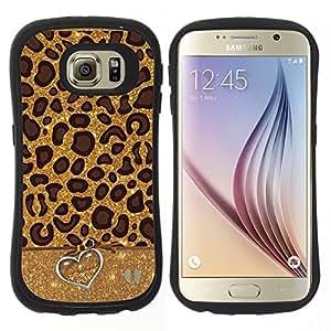 """Hypernova Slim Fit Dual Barniz Protector Caso Case Funda Para Samsung Galaxy S6 [Leopard Patrón Corazón animal Piel""""]"""