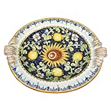 CERAMICHE D'ARTE PARRINI - Italian Ceramic Art Pottery Painted Tray Centerpiece Bowl Decorated Lemons Hand Painted Made in ITALY Tuscan