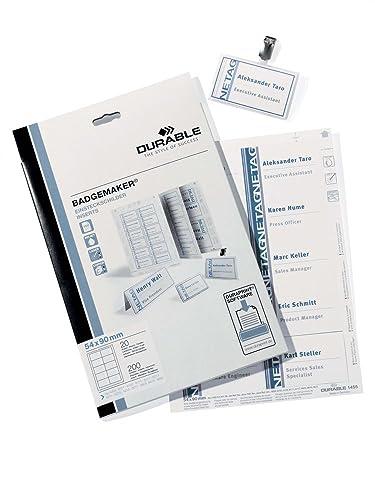 Durable 145502 Badgemaker, Printable Name Badge Insert Sheets, 54 x 90 mm - 200 Inserts