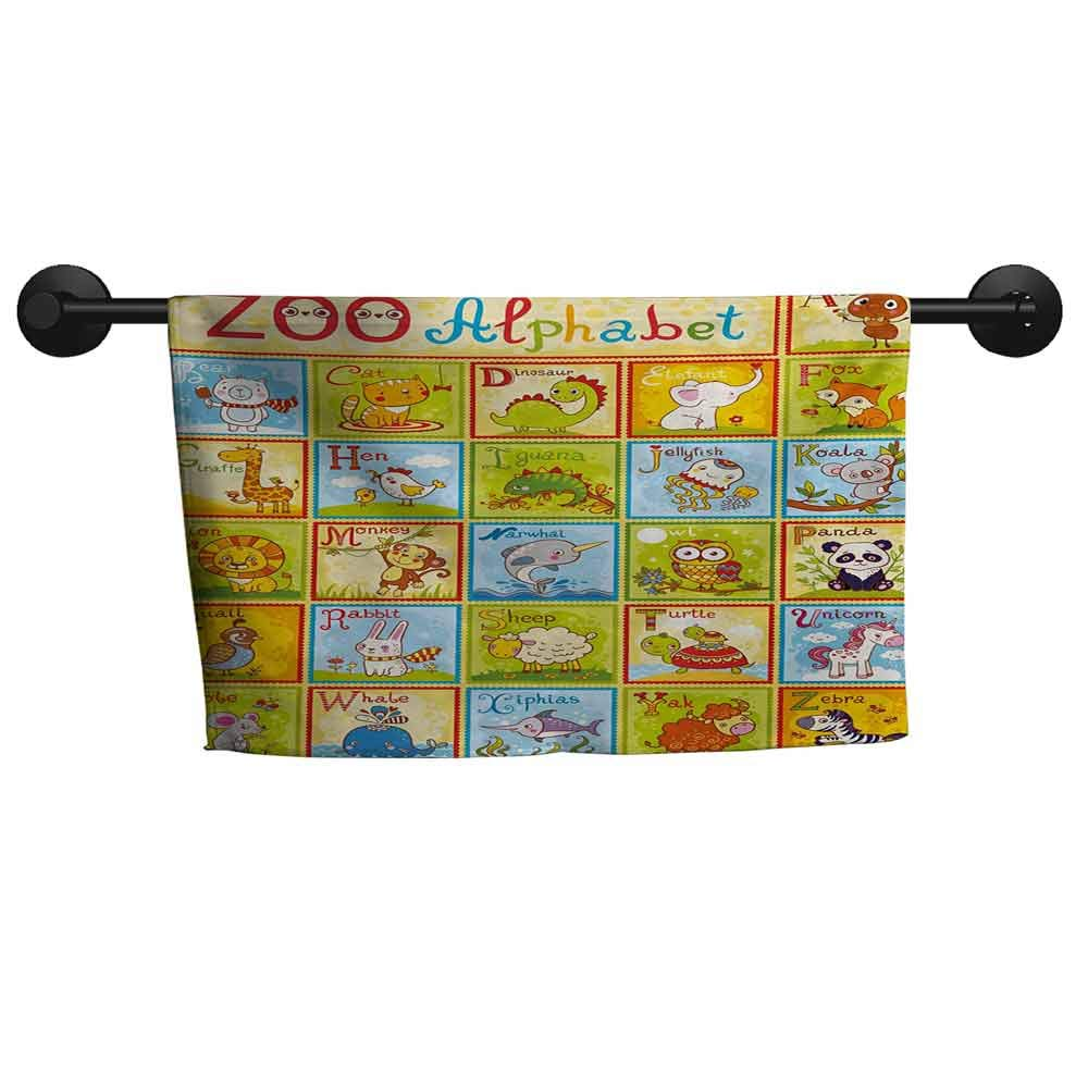 SONGDAYONE Absorbent Towel Educational Zoo Alphabet Design Colorful Style Funny Cartoon Animals Children Kids School Add Color to The Bathroom Multicolor,W28 x L55