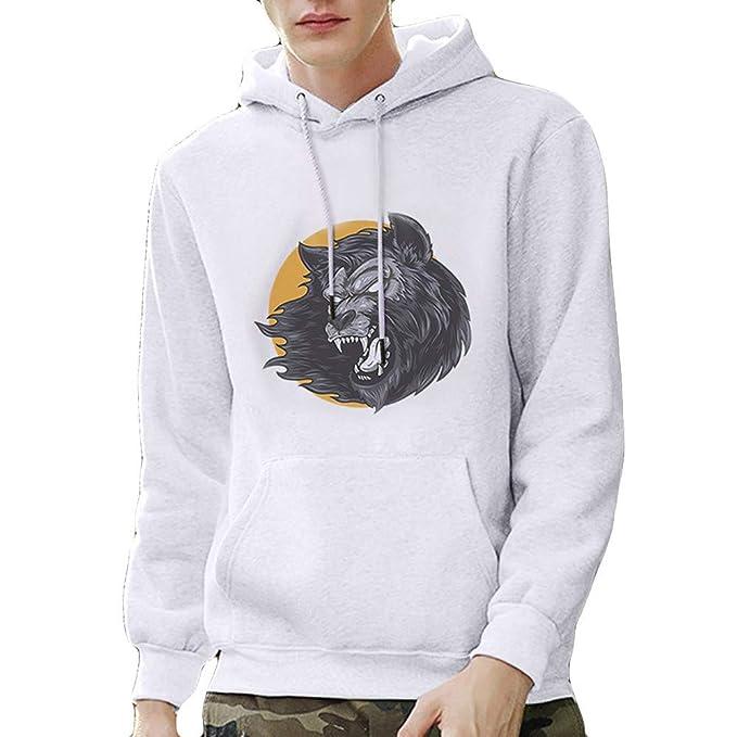 Internet-Suéter de Manga Larga con Capucha para Hombre, Sudadera, Estampado 3D, patrón de Cabeza de león(Blanco S-3XL): Amazon.es: Ropa y accesorios