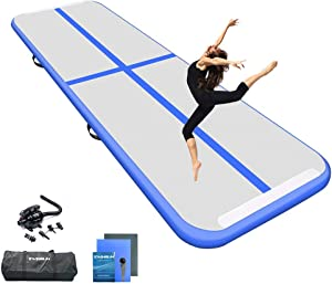 Ewinsun 10/13/16/ft Inflatable Gymnastic Training Mat Airmats Mat 4 inches thick Suitable for training/cheerleading/yoga/water fun/home use with electric pump