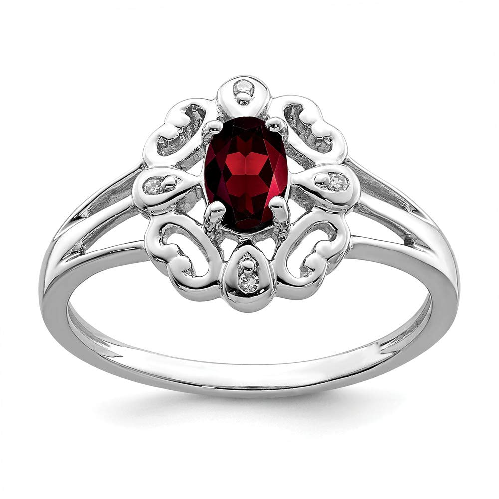 2mm .02 cttw. Sonia Jewels 925 Sterling Silver Diamond /& January Simulated Birthstone Simulated Garnet Oval Engagement Ring