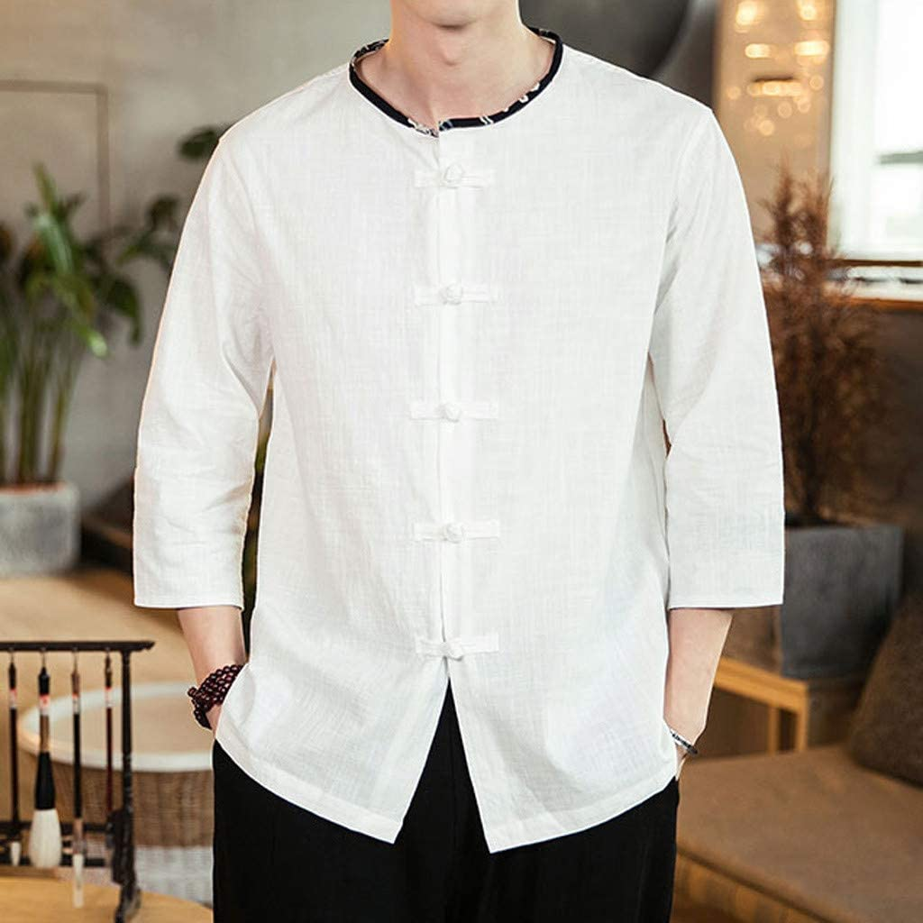 DDLmax Mens Vintage Solid Shirt Casual Button Down 3//4 Sleeve Basic Shirts Tops