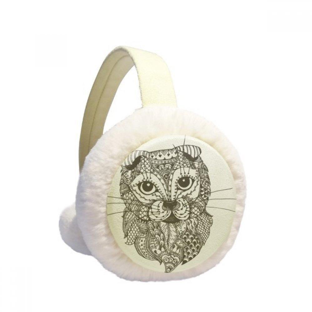 Cat Human Paint Baby Winter Earmuffs Ear Warmers Faux Fur Foldable Plush Outdoor Gift