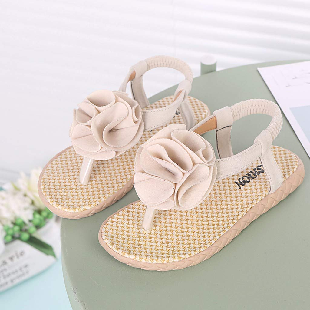 Sapienc Summer Children Infant Shoes Kids Baby Girls Flower Beach Priness Shoes Casual Sandals