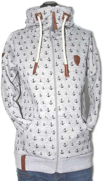 Be Cool Damen Sweatjacke Grau Zip Hoodie Anker S XXL