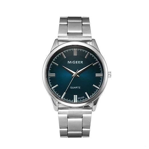 Yivise Hombres Moda Casual de Negocios de Acero Inoxidable Analógico de Cuarzo Cristal Redondo Dial Simple Popular Reloj de Pulsera(B): Amazon.es: Relojes