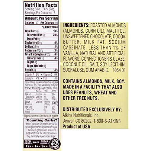 Atkins Endulge Pieces - Chocolate Covered Almonds - 5 ct - 1 oz - Low Calorie (Pack of 4) by Atkins (Image #1)