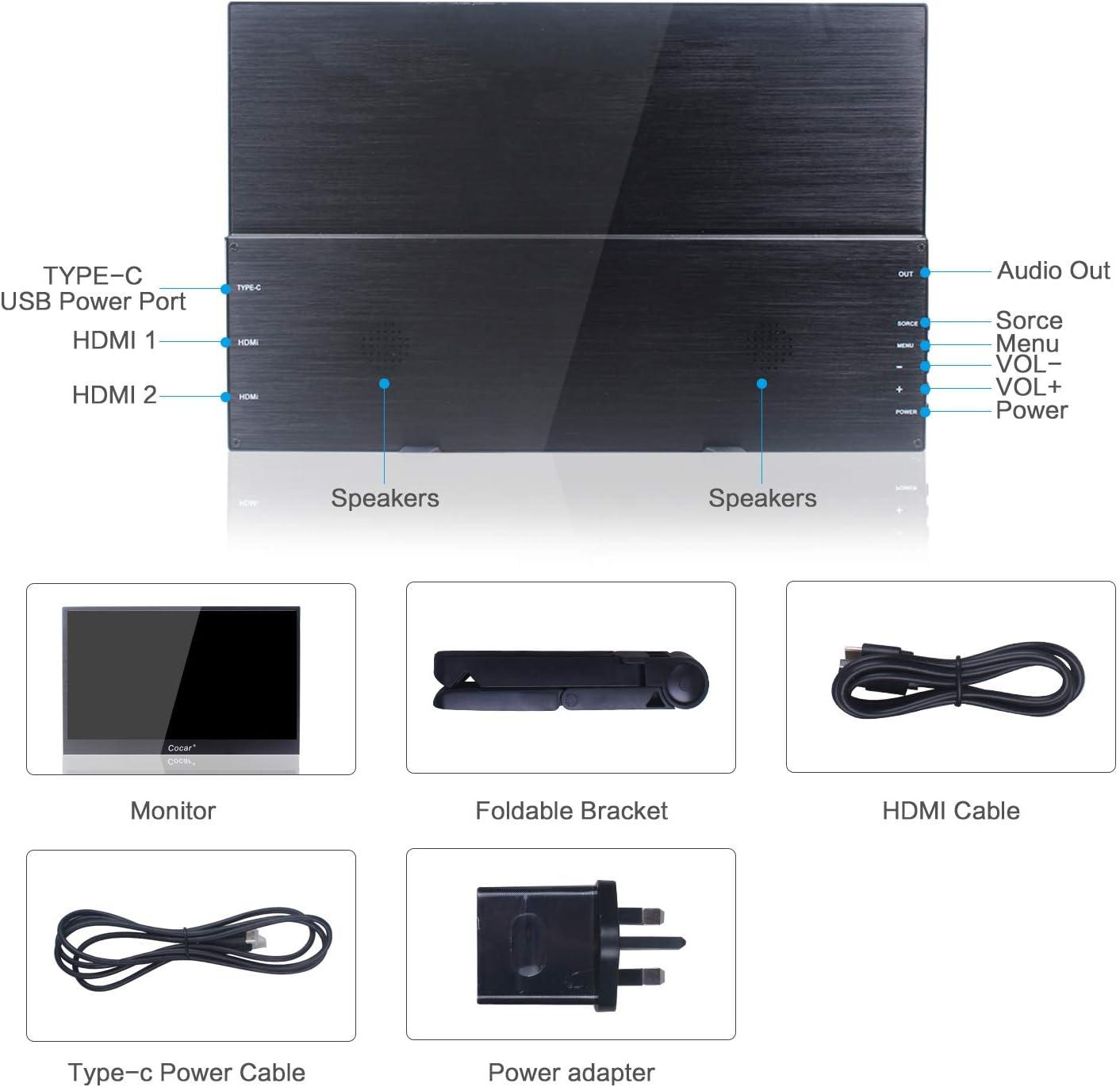 Portátil Monitor Ultra Delgado 12.5 Pulgadas IPS Full HD 1920x1080P 5 mm para PC Juego de Azar DVD Reproductor Dual HDMI con Mini Soporte 5V USB Type-C Powered Luz de Fondo LED