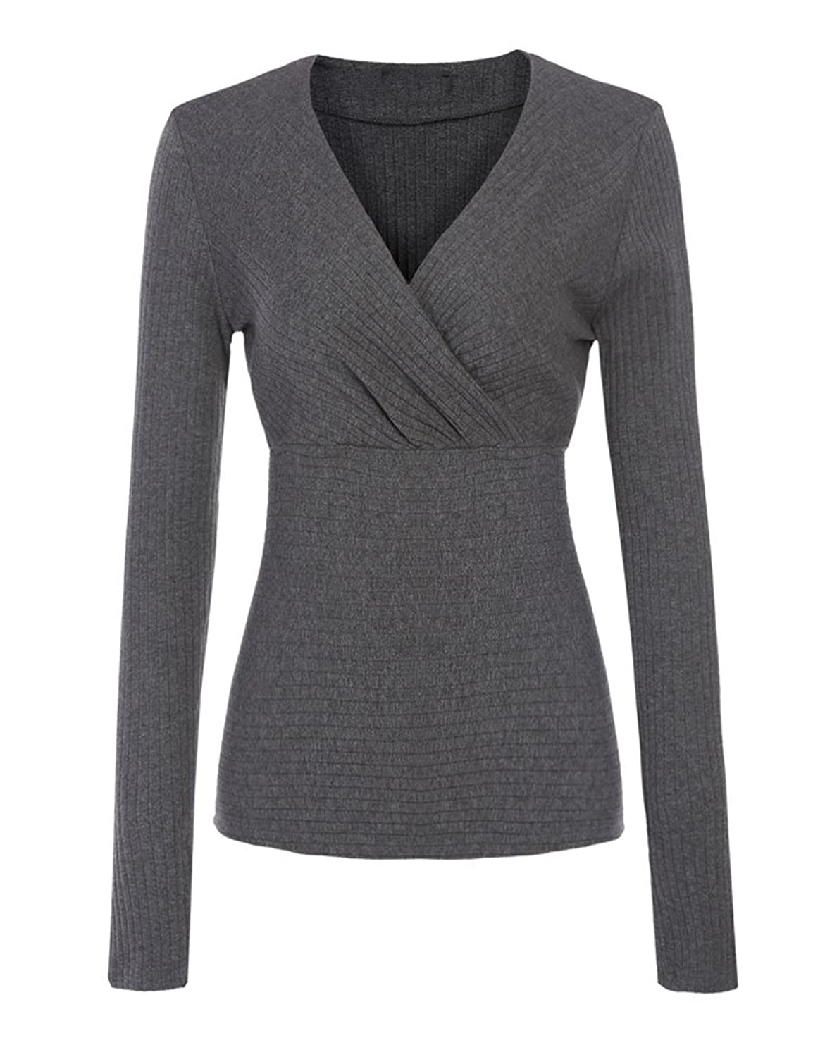 Qearal Women Cross Front V-Neck Solid Slim Fit Pullover Sweater Shirred Blouse Tops